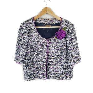 St. John Couture Purple Tweed Jacket Size 6